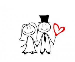 ハートに囲まれたカップルの絵