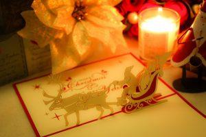 サンタとトナカイのクリスマスカード