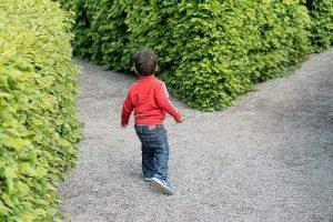 分かれ道の前で立ち止まる少年