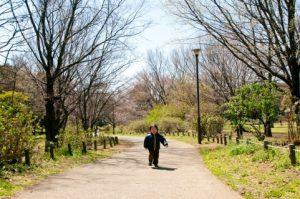 公園を歩く子供