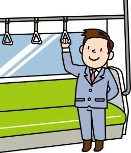 電車で通勤するサラリーマンの絵