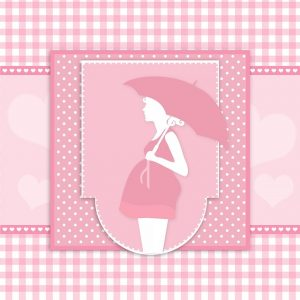 傘を差した妊婦の絵
