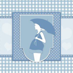 傘を差した女性の青い絵